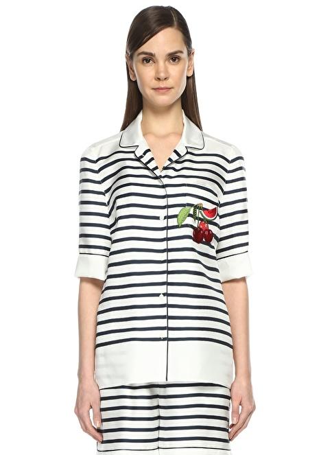 Dolce&Gabbana Çizgili İpek Gömlek Lacivert